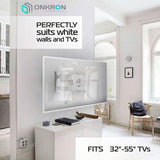 "ONKRON TV Mount for Flat Panel TV Screens 32""-55"" up to 77 lbs, Wall Mount for Curved Screens, M4 White"