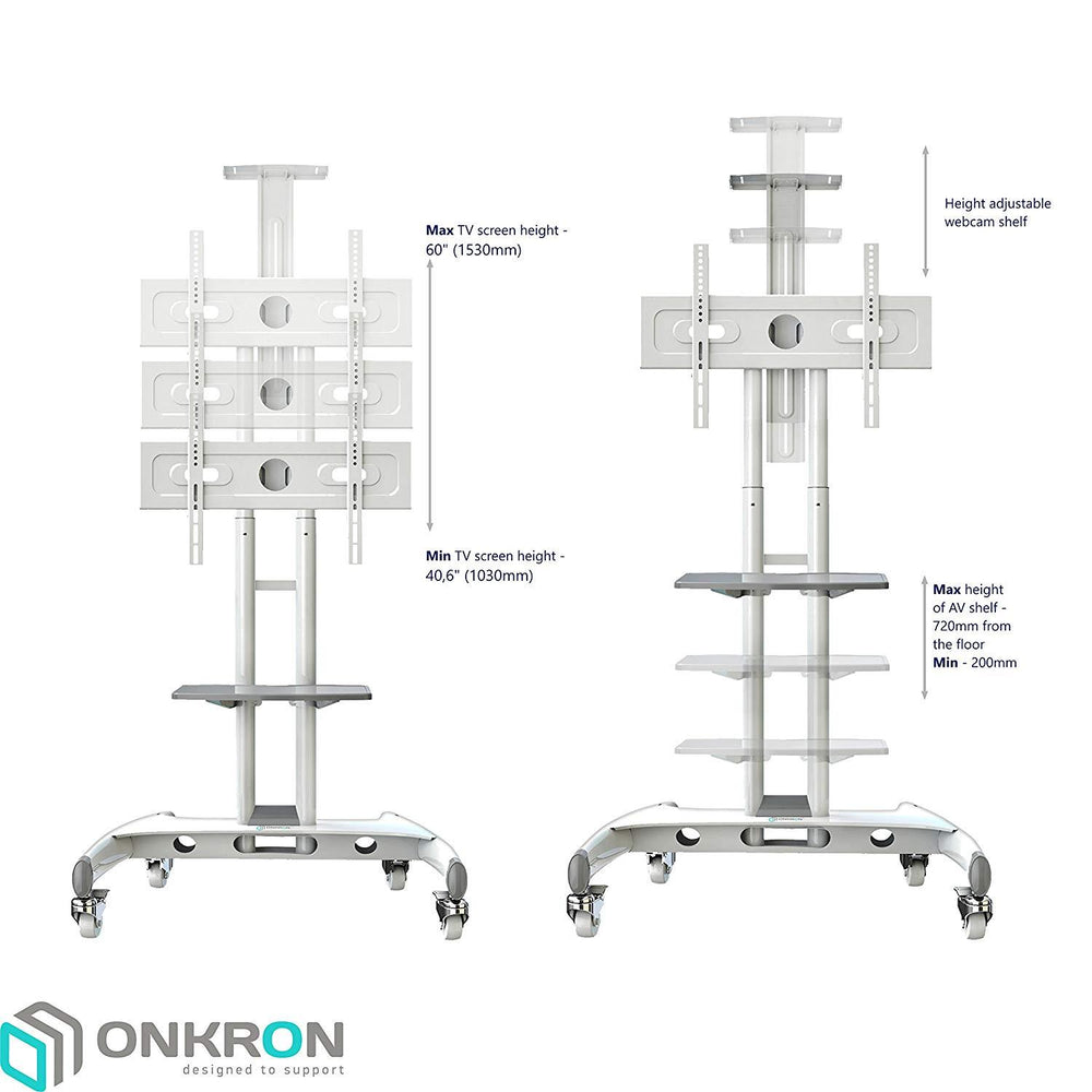"ONKRON Mobile Universal TV Cart TV Stand w/Mount for Most 32"" to 65"" Flat Screens up to 100 lbs, TS15-61 ( White , Black  )"