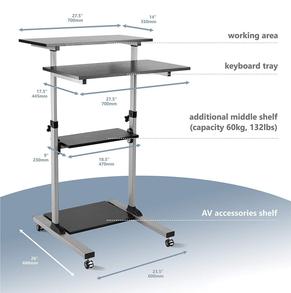 ONKRON Mobile Stand Up Desk Height Adjustable Computer Workstation Sit Stand Desk Cart with Keyboard Tray W1R
