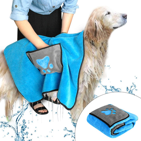 Absorbent Dog Bath Towels Quick Drying Towel Blanket Soft Microfiber Pet Grooming Supplies With Paw Print For Dogs Cats