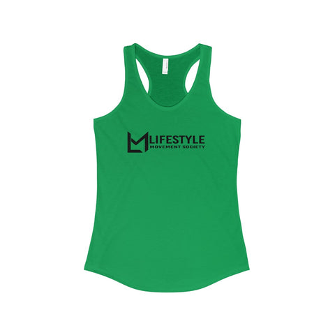 Lifestyle Across Black Writing Racerback Tank-6 Color Options