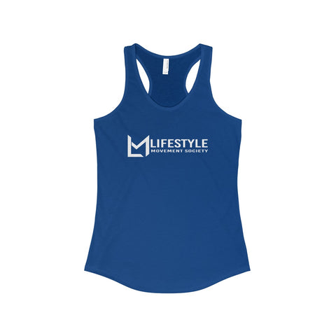 Lifestyle Across White Writing Racerback Tank-6 Color Options