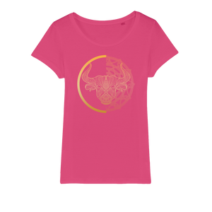 Zodiac Signs - Taurus Organic Jersey Womens T-Shirt - Ink Elements
