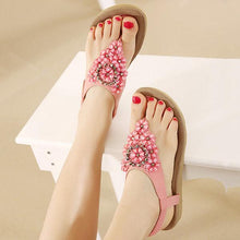 Load image into Gallery viewer, Bohemia Floral Bead Crystal Slip On Elastic Flat Beach Sandals