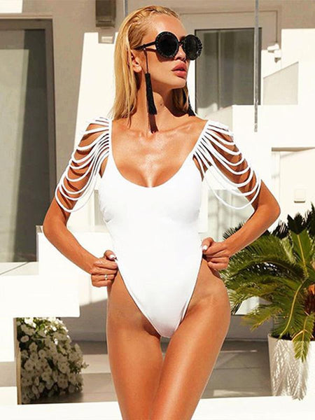 Sexy Backless Tassels Solid Color One-piece Swimwear