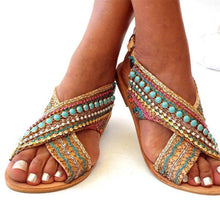 Load image into Gallery viewer, Ethnic Style Flat Large Size Sandals
