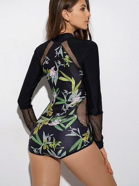 Swimsuit with Long Sleeves In One-piece Surfing Suit and Hot Spring Swimsuit