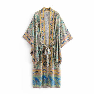 New Prints Lace Cardigan Long Kimono Robe Dress