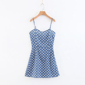 Summer Elegant Polka Dot Sling Mini Dress
