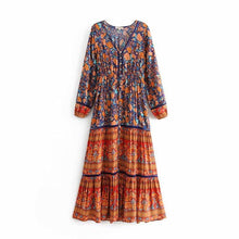 Load image into Gallery viewer, Summer Bohemian Holiday Print V-Neck Long Sleeve Long Dress