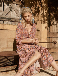 Summer Bohemian Holiday Print V-Neck Long Sleeve Long Dress
