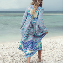 Load image into Gallery viewer, Sexy Bohemian Long Sleeve Tassel Irregular Print Dress