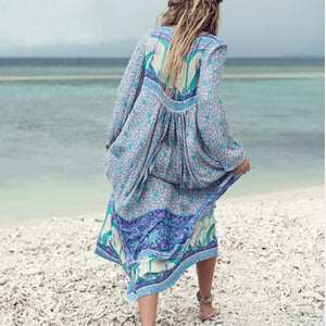 Sexy Bohemian Long Sleeve Tassel Irregular Print Dress