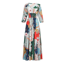 Load image into Gallery viewer, V Neck Women Summer A-Line Stiching Chiffon Floral Dresses
