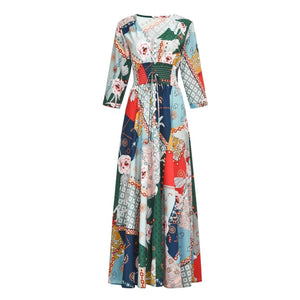 V Neck Women Summer A-Line Stiching Chiffon Floral Dresses