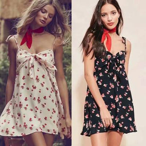 Sexy Lace-Up Holiday Style Sling Cherry Dress