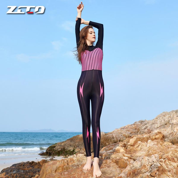 Diving Suit Women's One Piece Sunscreen Swimsuit Slim Fit Long Sleeve Jellyfish Suit Snorkeling Suit Quick Dry Surfing Swimsuit