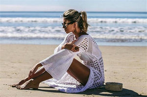 White Sexy Empire Hollow Beach Cover-ups Dress