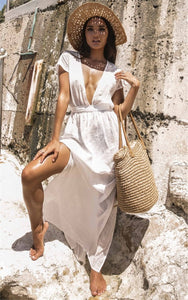 Solid Color Deep V-neck Backless Empire Beach Cover-ups Dress