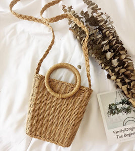 Vintage Ring Paper Rope Handbag Square Straw Bag Beach Bag