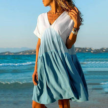 Load image into Gallery viewer, Summer V-neck Gradient Loose Short-Sleeved Dress