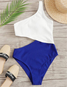 Colorblock Stitching Sexy Strapless One Piece Swimsuit