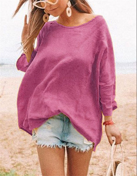 Crewneck Fashion Joker Loose Cotton Linen Shirt T-shirt Women's Clothing