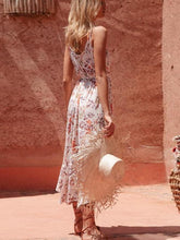 Load image into Gallery viewer, New V-neck Ruffled Stitching Print Lace-up Harness Holiday Bohemian Dress