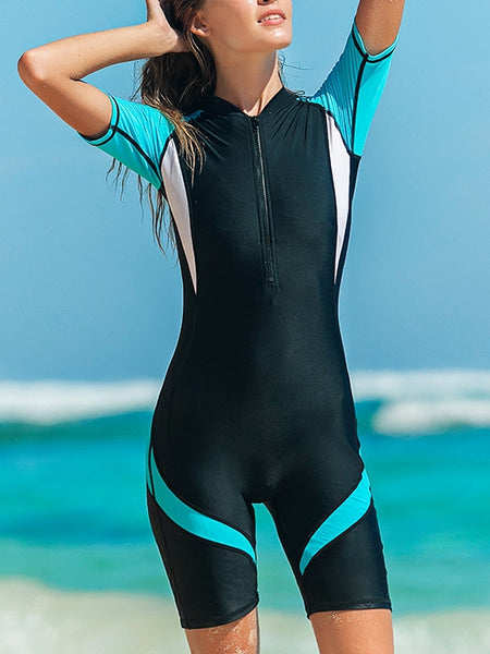Diving Suit Short Sleeved One Piece Snorkeling and Quick Drying Slimming Thin Swimsuit
