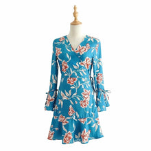 Load image into Gallery viewer, Bohemian Holiday Style Trumpet Sleeves Ruffled Dress