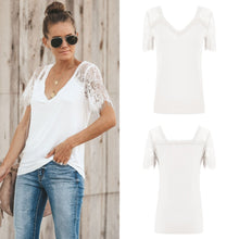 Load image into Gallery viewer, Sexy V-neck Lace Stitch Short-sleeved T-shirt top