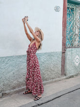 Load image into Gallery viewer, Print Long Bohemian V-Neck Sling Big Swing Dress
