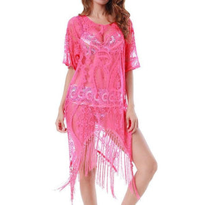 Sexy Half Sleeve Lace Tassel Swimwear Beach Bikini Cover Up