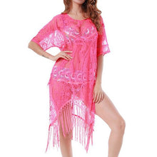 Load image into Gallery viewer, Sexy Half Sleeve Lace Tassel Swimwear Beach Bikini Cover Up
