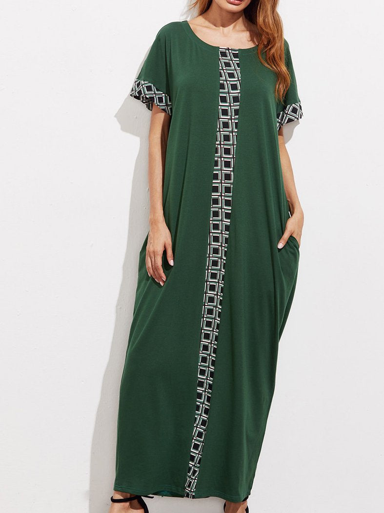 Green Round Neck Short Sleeve Loose Kaftan Dress