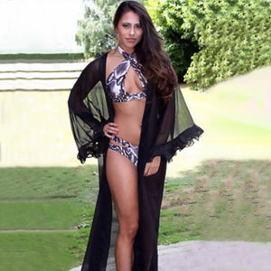 Chiffon Long Sleeve Summer Beach Swimwear Bikini Cover Up