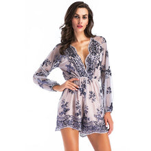 Load image into Gallery viewer, Sequin V Neck Long Sleeve Mini Dress