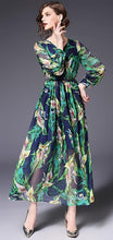 Load image into Gallery viewer, Printed V Neck Long Sleeve Beach Bohemia Maxi Long Dress