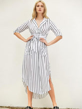 Load image into Gallery viewer, Stripe Long Sleeve Pocket Maxi Dress