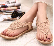 Load image into Gallery viewer, 2018 Summer Flower Flat Heel Bohemia Sandals