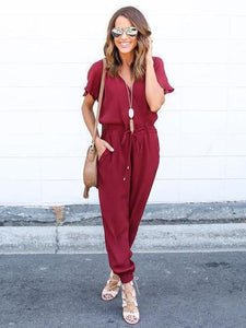 V Neck Short Sleeve Solid Color Jumpsuit Romper