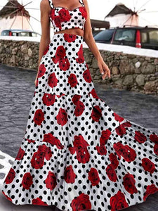 Boho Retro Hepburn Wind Waist Slimming Large Print Long Dress