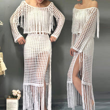 Load image into Gallery viewer, Seaside Holiday Tops Split Tassel Sexy Dress Long Skirt Two-piece Suit