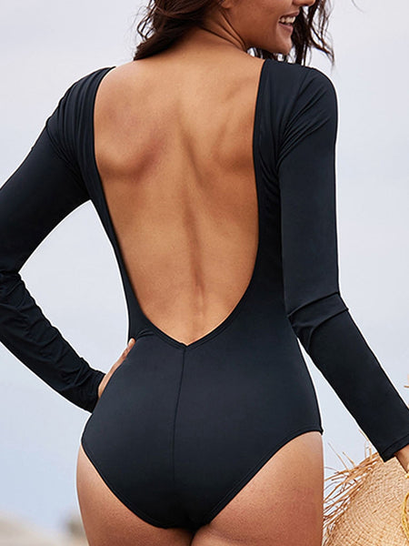 One-piece Swimsuit Female Long-sleeved Cross Hollow Backless Triangle Swimsuit