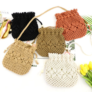 Hand Drawstring Straw Bag One Shoulder Woven Beach Bag