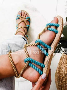 Color Matching Large Size Twine Straps Flat Bottom Women's Sandals Beach Shoes