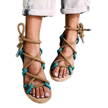 Load image into Gallery viewer, Color Matching Large Size Twine Straps Flat Bottom Women's Sandals Beach Shoes