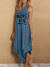 Load image into Gallery viewer, Simple European and American Letters Printed Casual Long-necked Short-sleeved Vest Dress