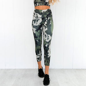 Camo Printing Yoga Fitness Suite Wet and Sweat Exhaust Yoga Suit Women's Fitness Suite