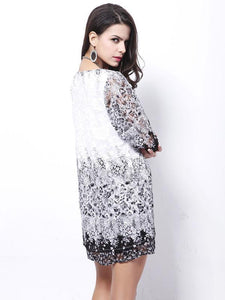Fashion White Lace Bohemia Half Sleeve Mini Dress Beach Dress